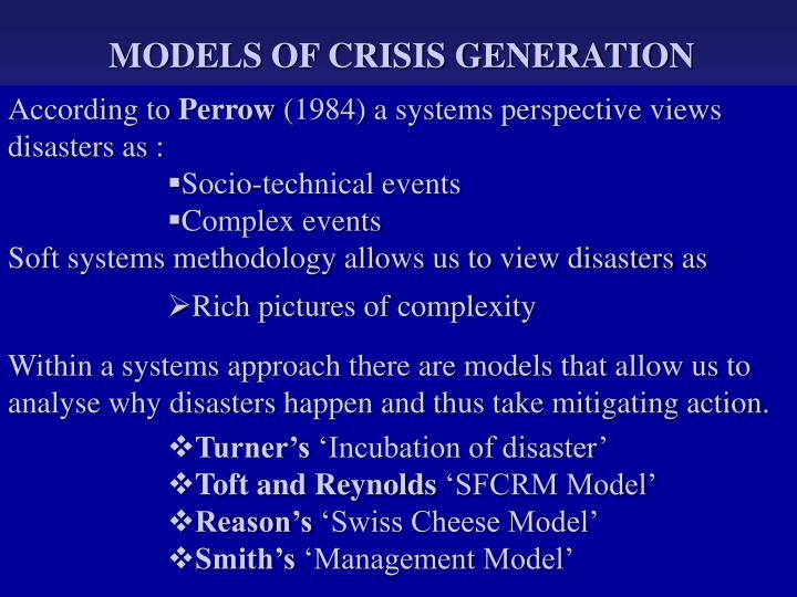 MODELS OF CRISIS GENERATION