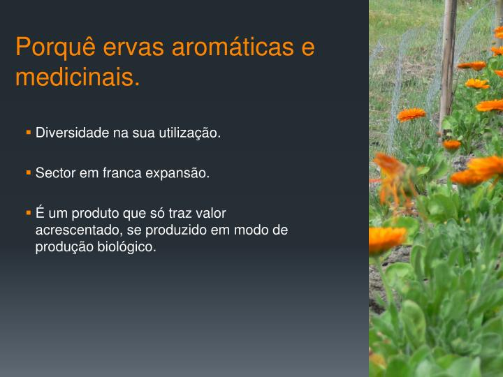 Porquê ervas aromáticas e medicinais.