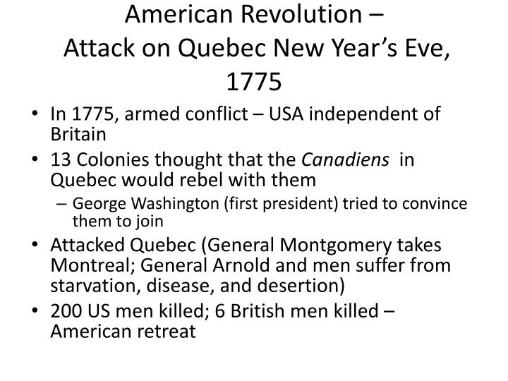 American revolution attack on quebec new year s eve 1775