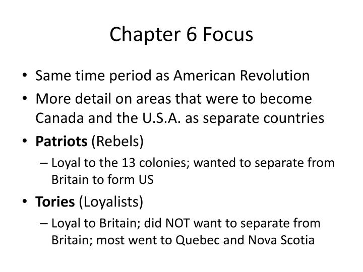 Chapter 6 Focus