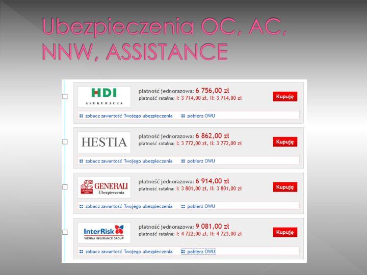Ubezpieczenia OC, AC, NNW, ASSISTANCE