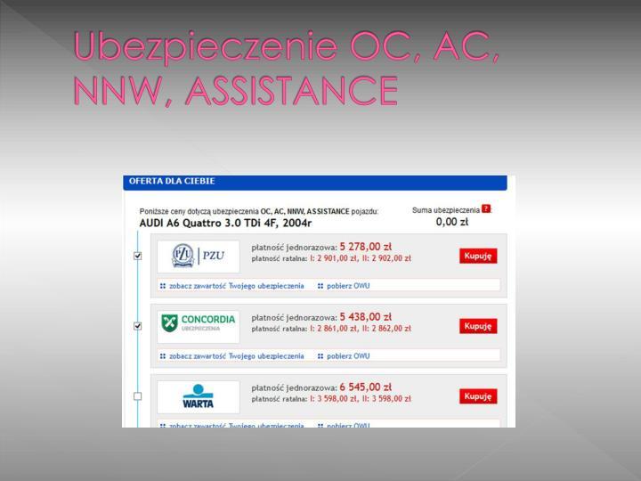 Ubezpieczenie OC, AC, NNW, ASSISTANCE
