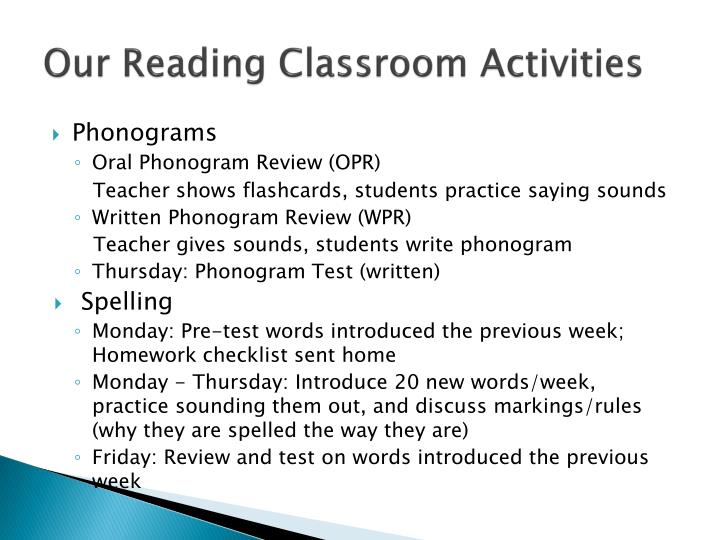 Our Reading Classroom Activities