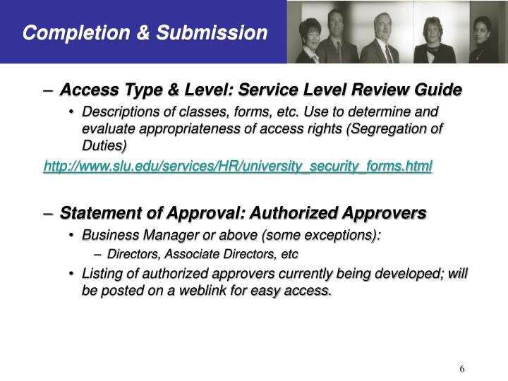Access Type & Level: Service Level Review Guide