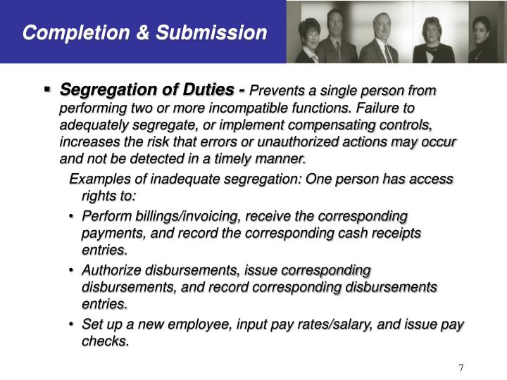 Segregation of Duties -