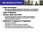 key sections of form
