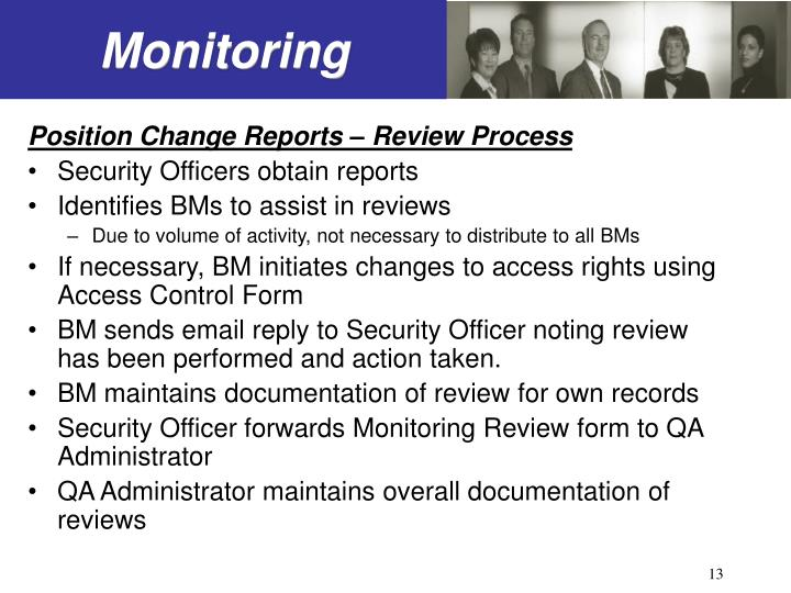 Position Change Reports – Review Process
