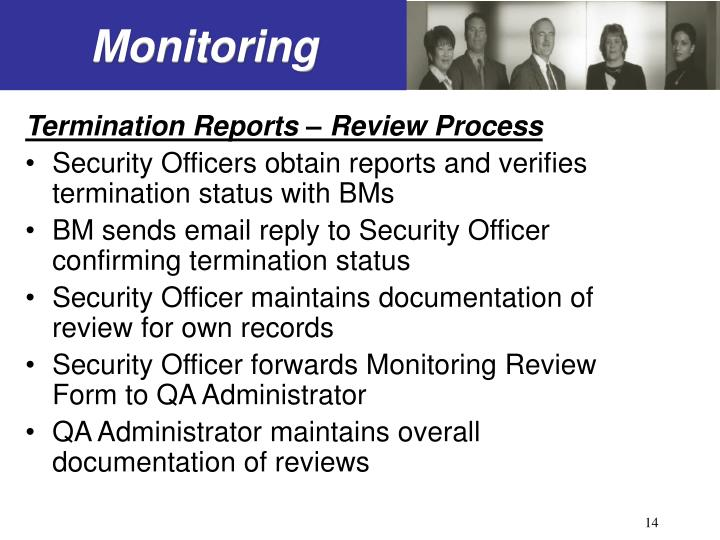 Termination Reports – Review Process