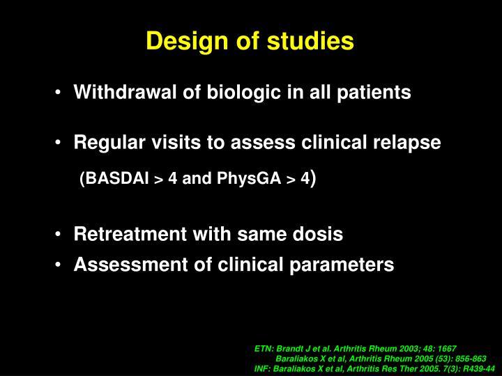 Design of studies