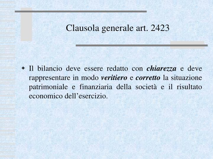 Clausola generale art. 2423