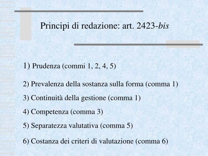 Principi di redazione: art. 2423-