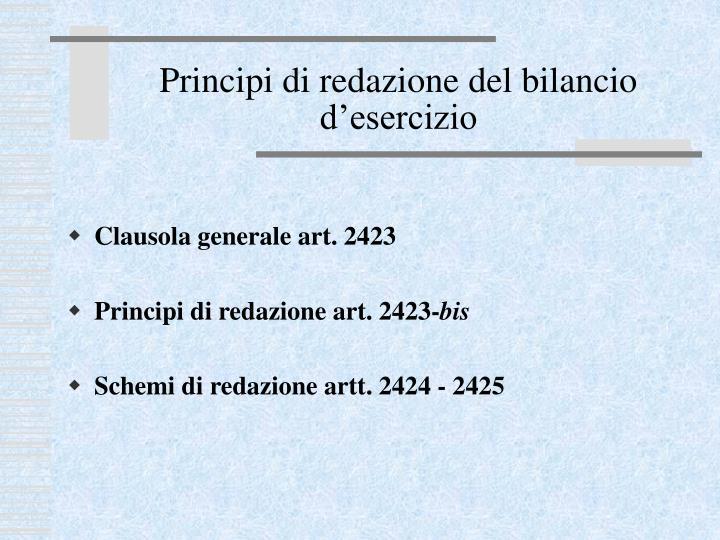 Principi di redazione del bilancio d'esercizio