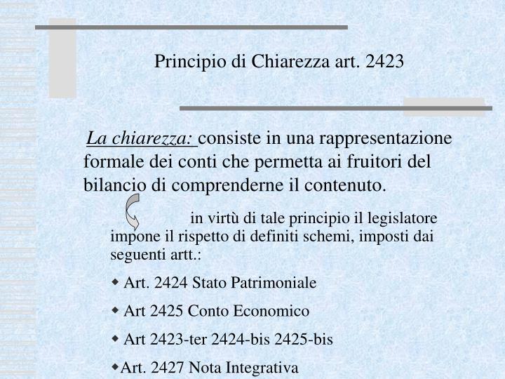 Principio di Chiarezza art. 2423