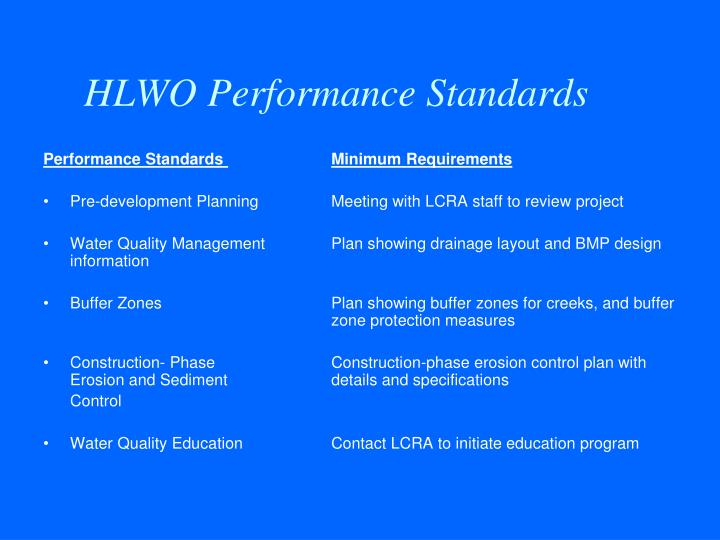 HLWO Performance Standards