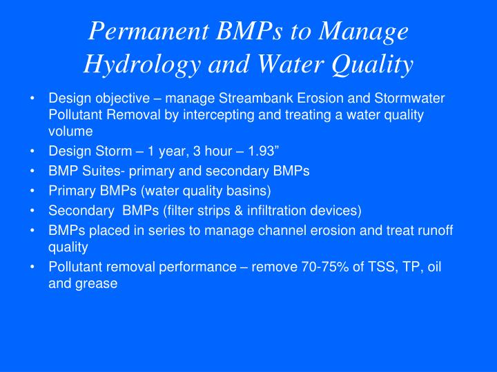 Permanent BMPs to Manage Hydrology and Water Quality