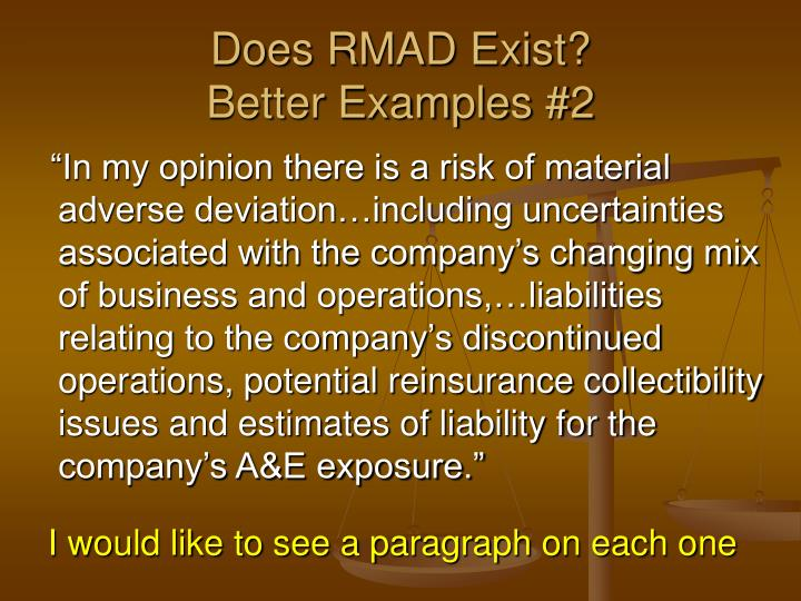 Does RMAD Exist?