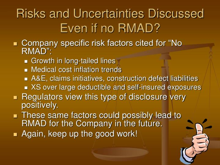 Risks and Uncertainties Discussed