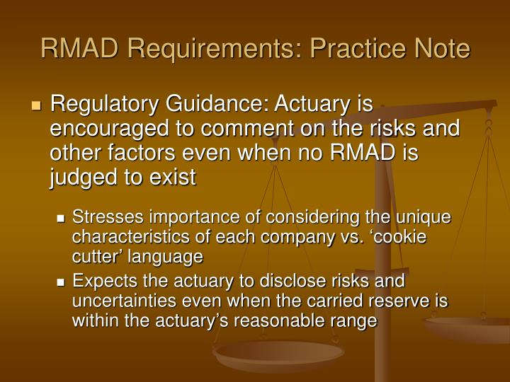 RMAD Requirements: Practice Note