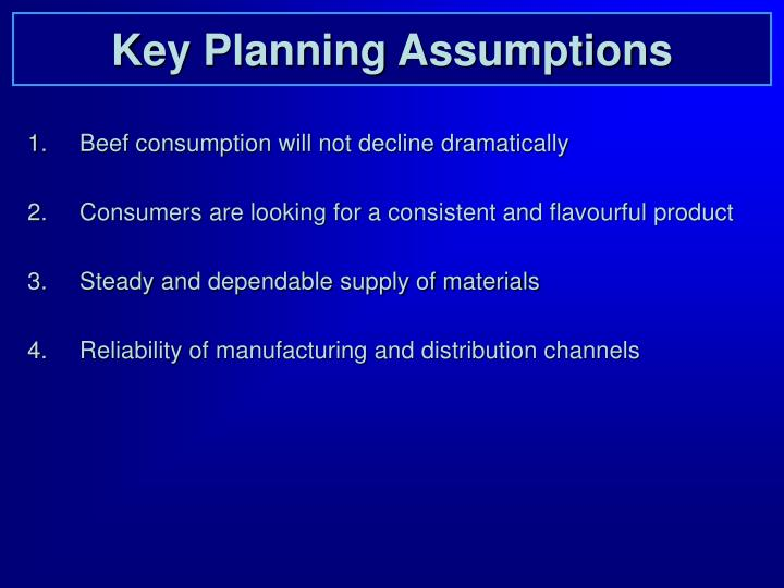 Key Planning Assumptions