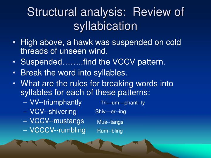 Structural analysis:  Review of syllabication