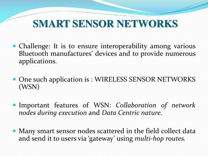 SMART SENSOR NETWORKS