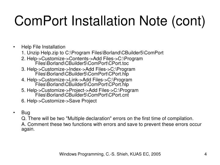 ComPort Installation Note (cont)