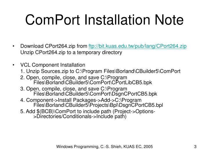 Comport installation note