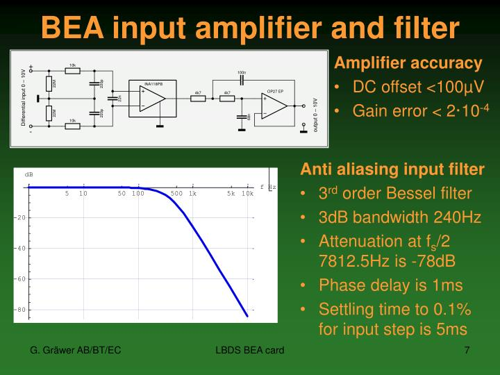 BEA input amplifier and filter