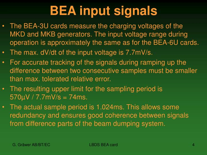 BEA input signals
