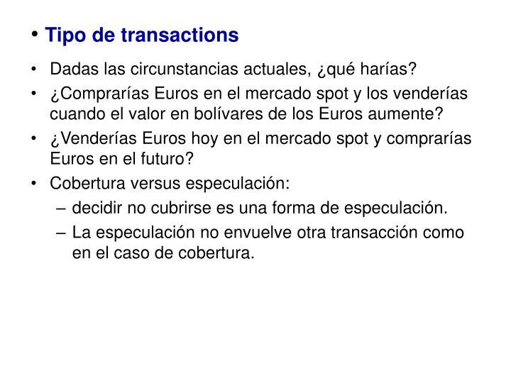 Tipo de transactions