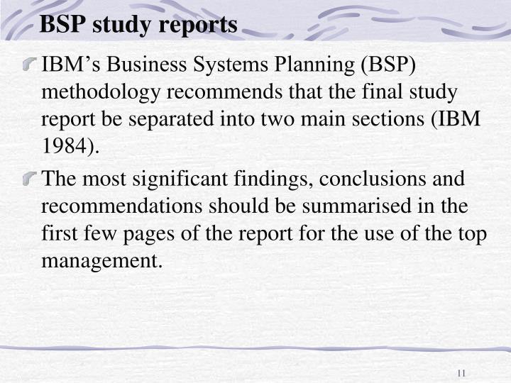 BSP study reports