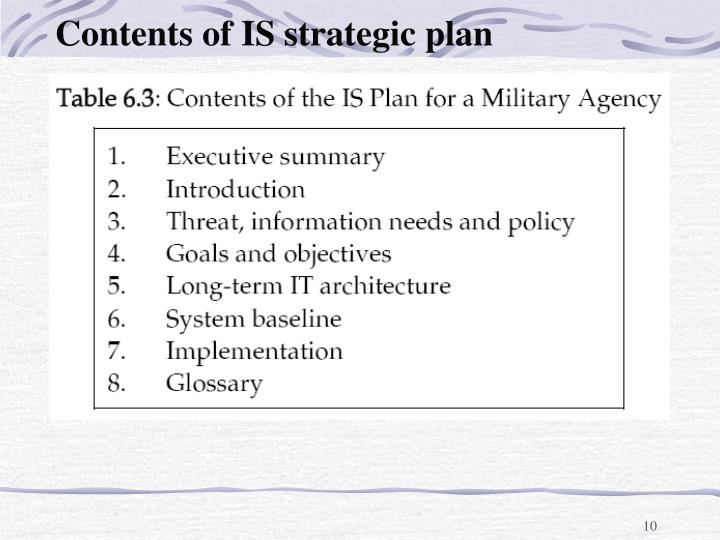 Contents of IS strategic plan