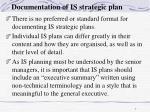 documentation of is strategic plan
