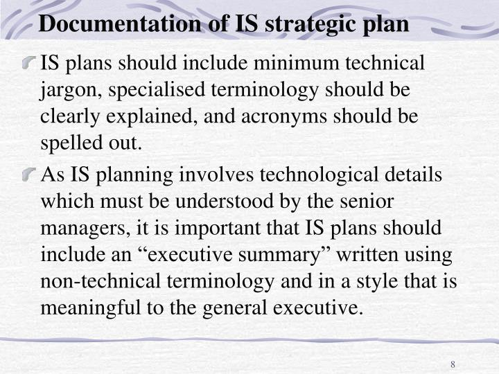 Documentation of IS strategic plan