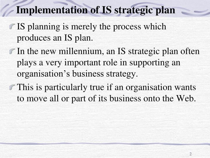 Implementation of is strategic plan