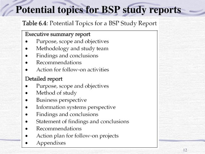 Potential topics for BSP study reports