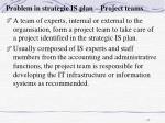 problem in strategic is plan project teams