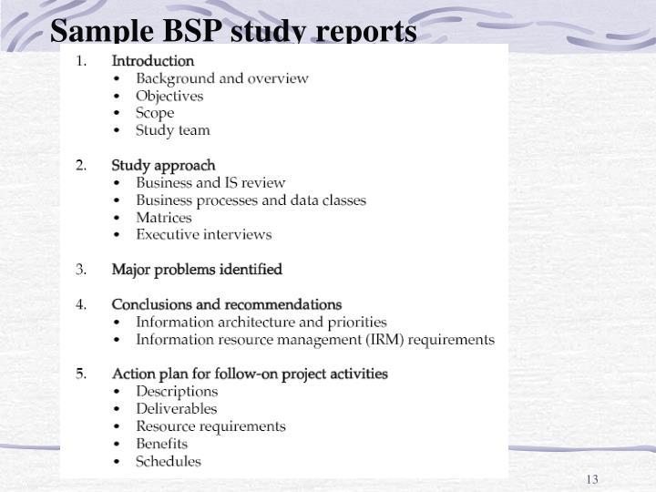 Sample BSP study reports