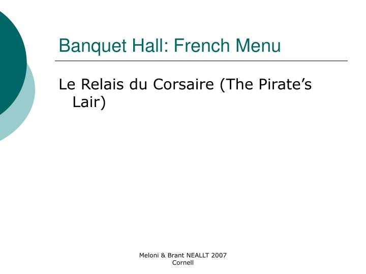Banquet Hall: French Menu