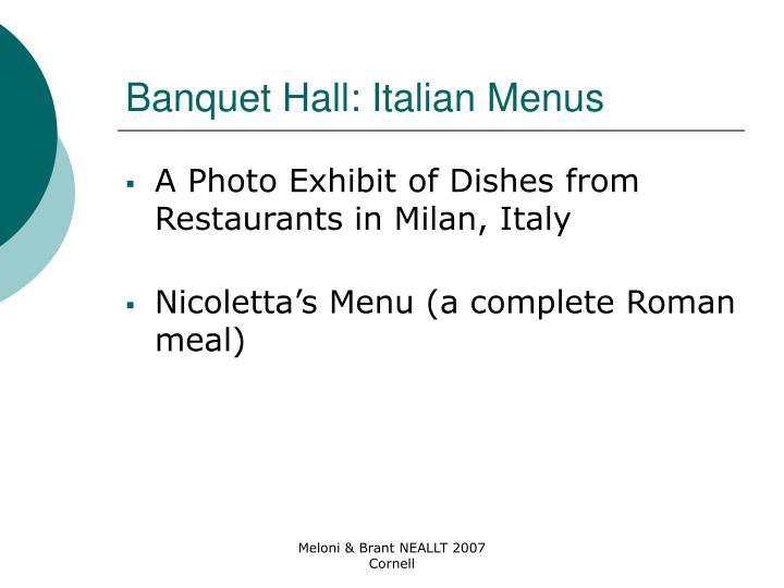 Banquet Hall: Italian Menus