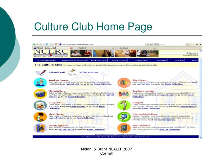 Culture Club Home Page