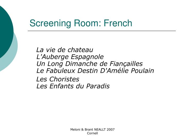 Screening Room: French