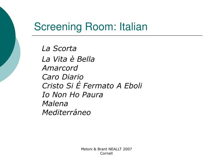 Screening Room: Italian