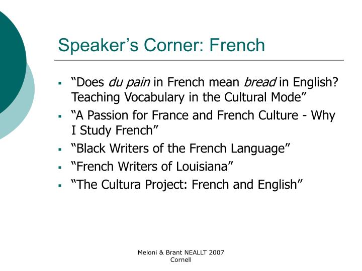 Speaker's Corner: French