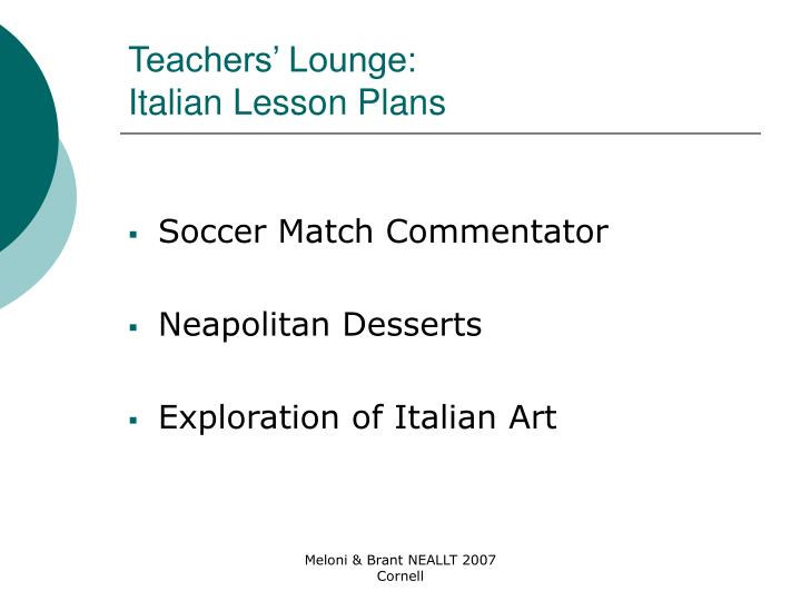 Teachers' Lounge: