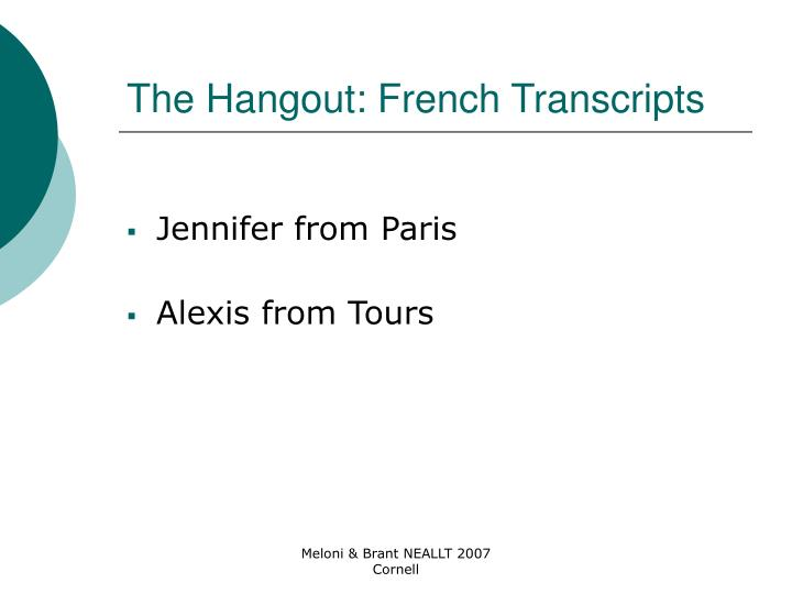 The Hangout: French Transcripts