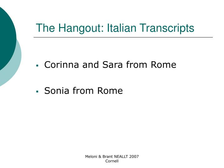 The Hangout: Italian Transcripts