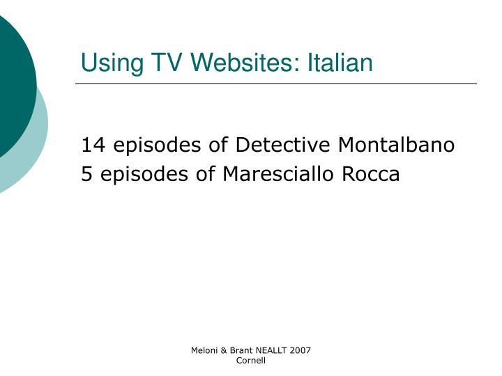 Using TV Websites: Italian