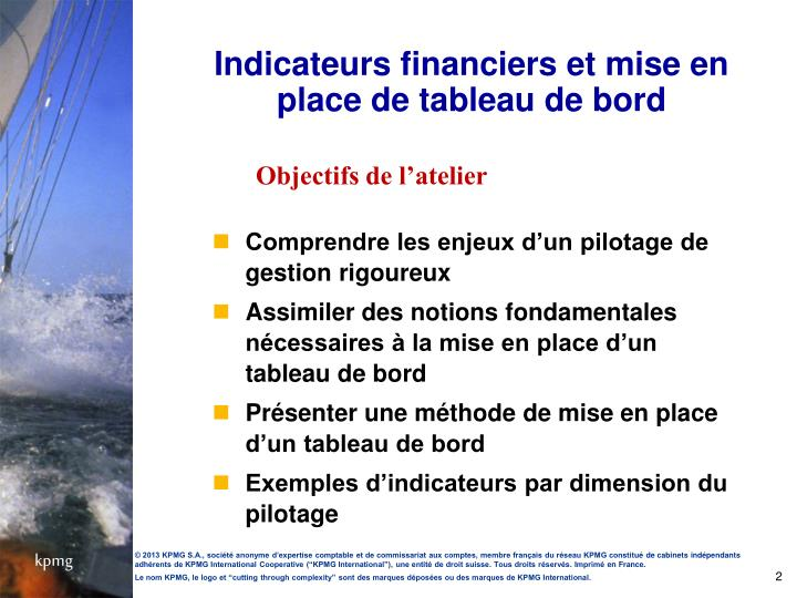 Indicateurs financiers et mise en place de tableau de bord