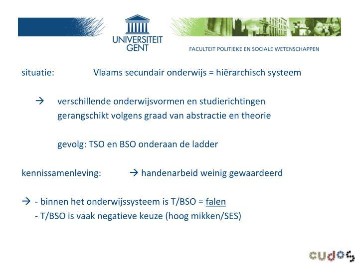 situatie:Vlaams secundair onderwijs = hiërarchisch systeem